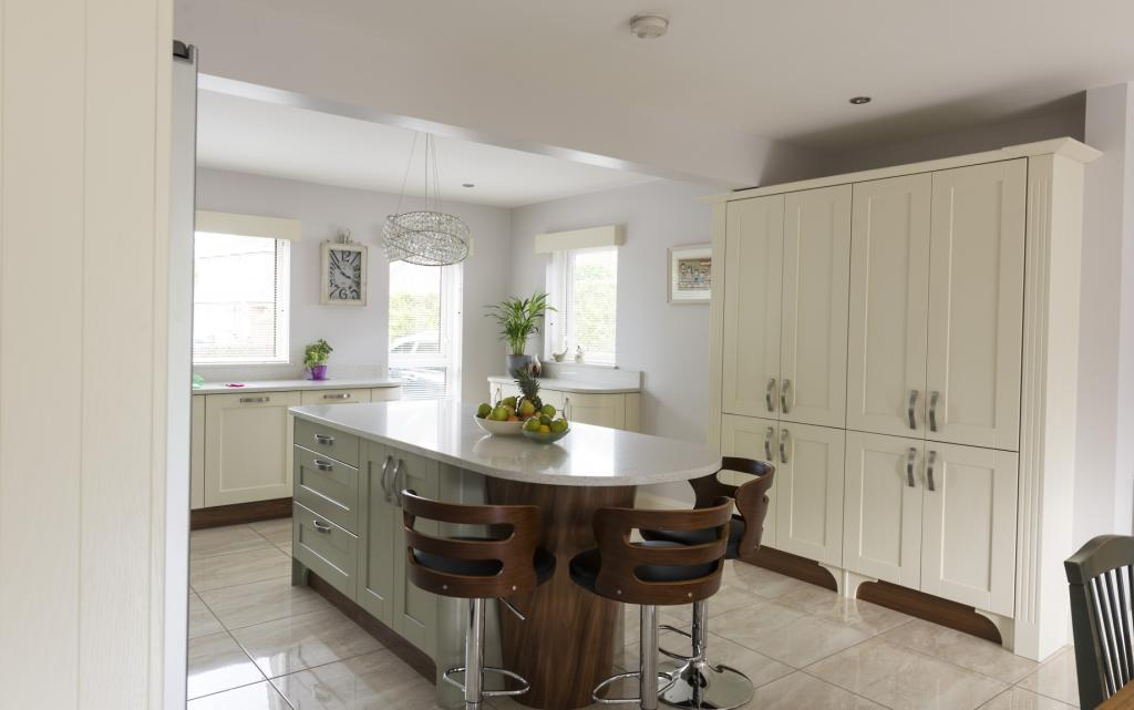 Ivory Shaker Kitchen With Sage Green Island